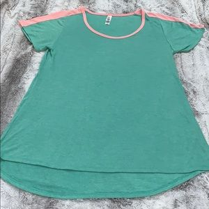 Lularoe Classic T-shirt Green & Pink Soft